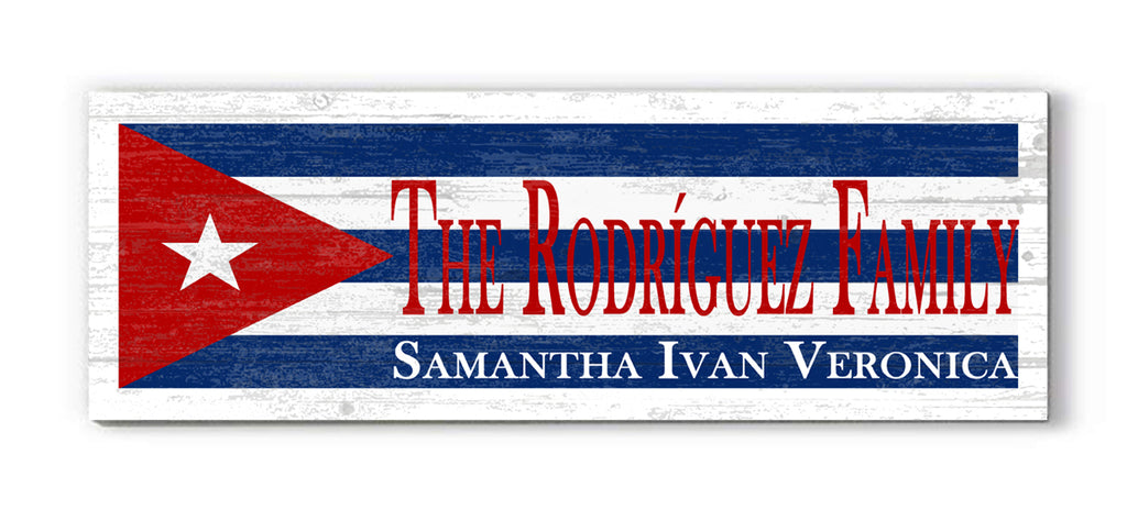 Personalized Republic of Cuba Flag Family Name Sign Customized Cuban Rustic Décor for a Cuban Home, Man Cave, Kitchen, or Wedding Gift