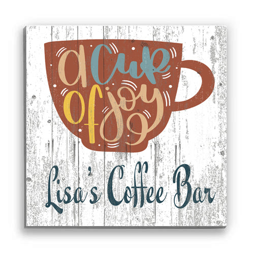 Customized Name Sign A Cup of Joy Personalized Wood Wall Décor for Kitchen, Coffee Bar, Home Office, Housewarming Gift Idea