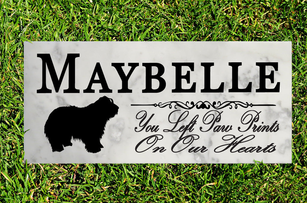Bearded Collie Memorial Stone PERSONALIZED Bearded Collie Dog Garden Rock Grave Marker Outdoor or Indoor