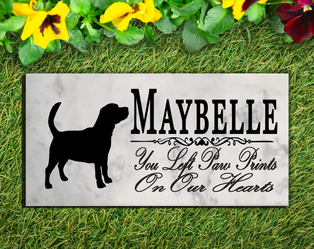 Beagle Memorial Stone PERSONALIZED Dog Garden Rock Grave Marker Outdoor or Indoor