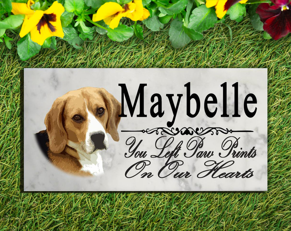 PERSONALIZED Beagle Memorial Stone Dog Grave Marker Pet Garden Plaque