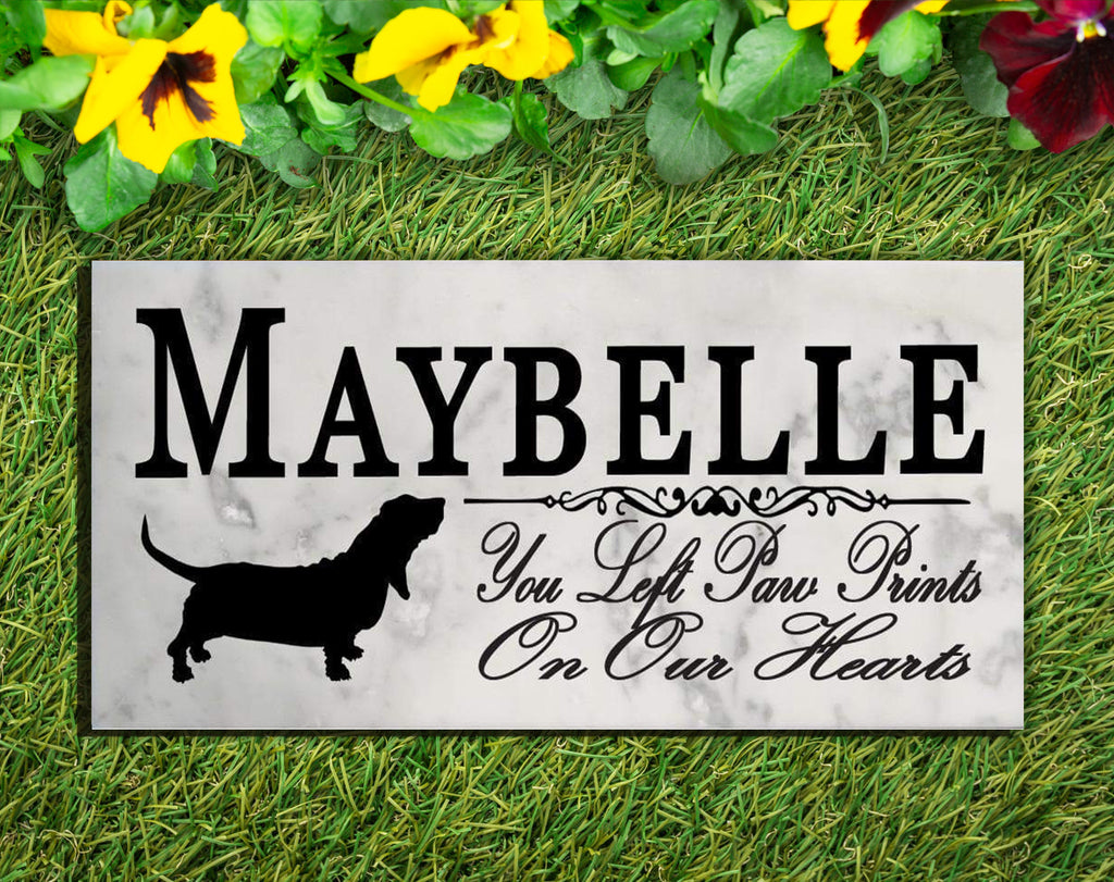 Basset Hound Memorial Stone PERSONALIZED Dog Garden Rock Grave Marker Outdoor or Indoor