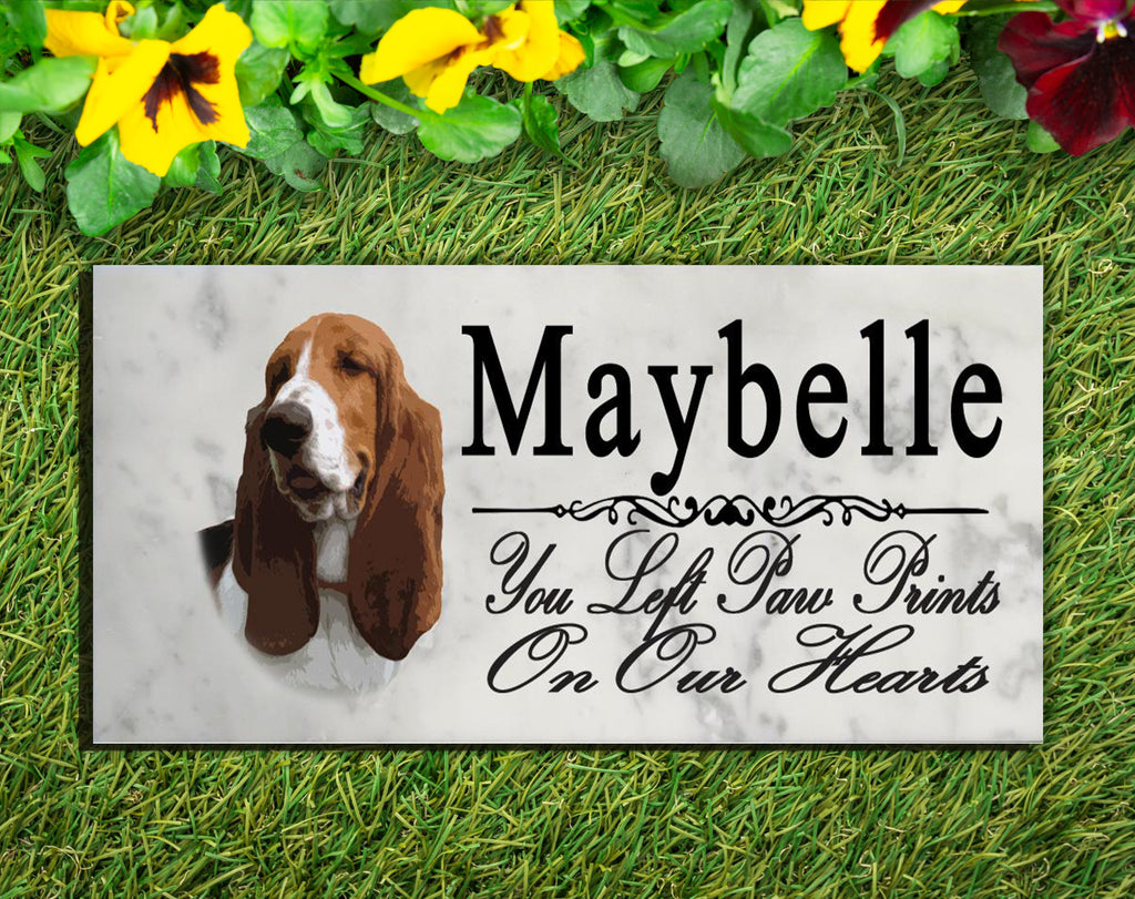 PERSONALIZED Basset Hound Memorial Stone Dog Grave Marker Pet Garden Plaque