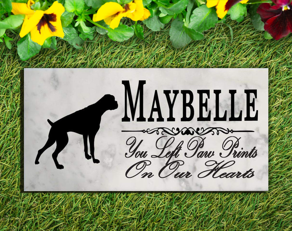 Boxer Memorial Stone PERSONALIZED Dog Garden Rock Grave Marker Outdoor or Indoor