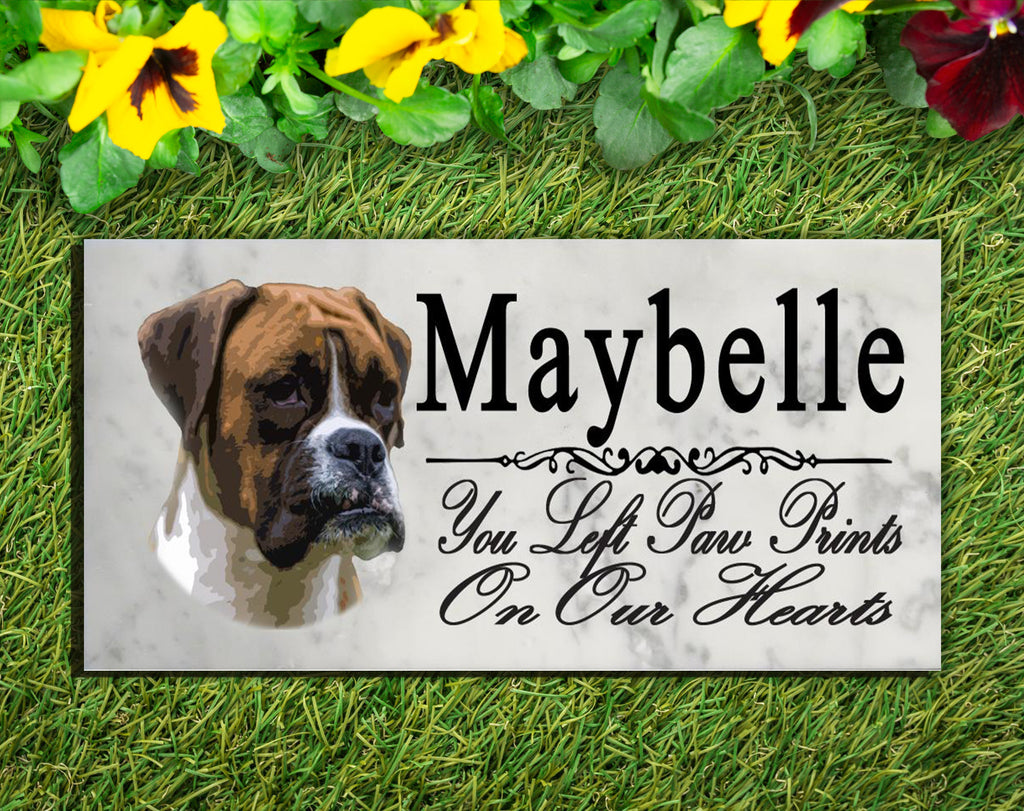 PERSONALIZED Boxer Memorial Stone Dog Grave Marker Pet Garden Plaque