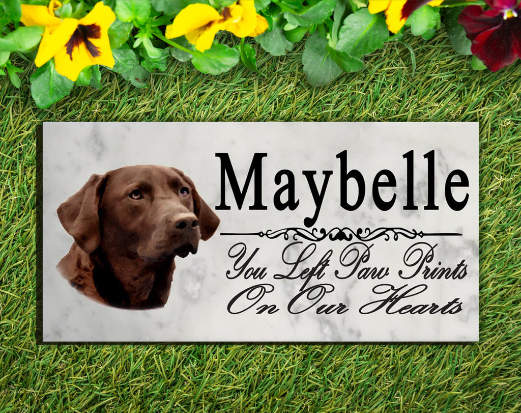 PERSONALIZED Chocolate Lab Memorial Stone Dog Grave Marker Pet Labrador Garden Plaque