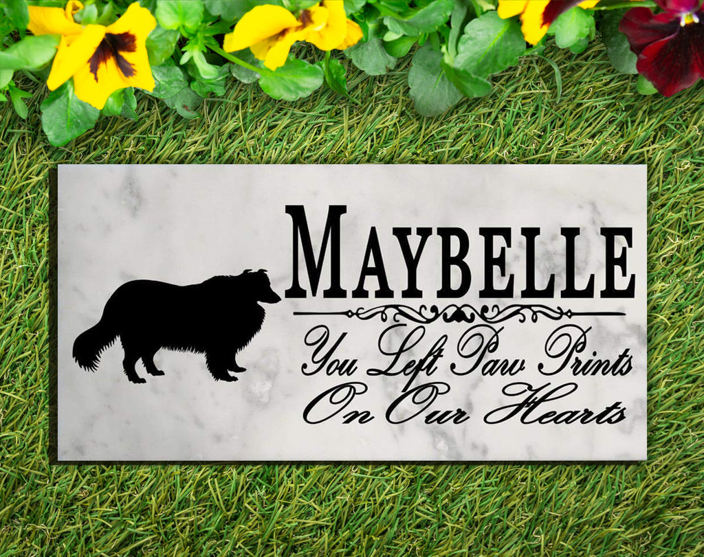 Collie Memorial Stone PERSONALIZED Collie Dog Garden Rock Grave Marker Outdoor or Indoor