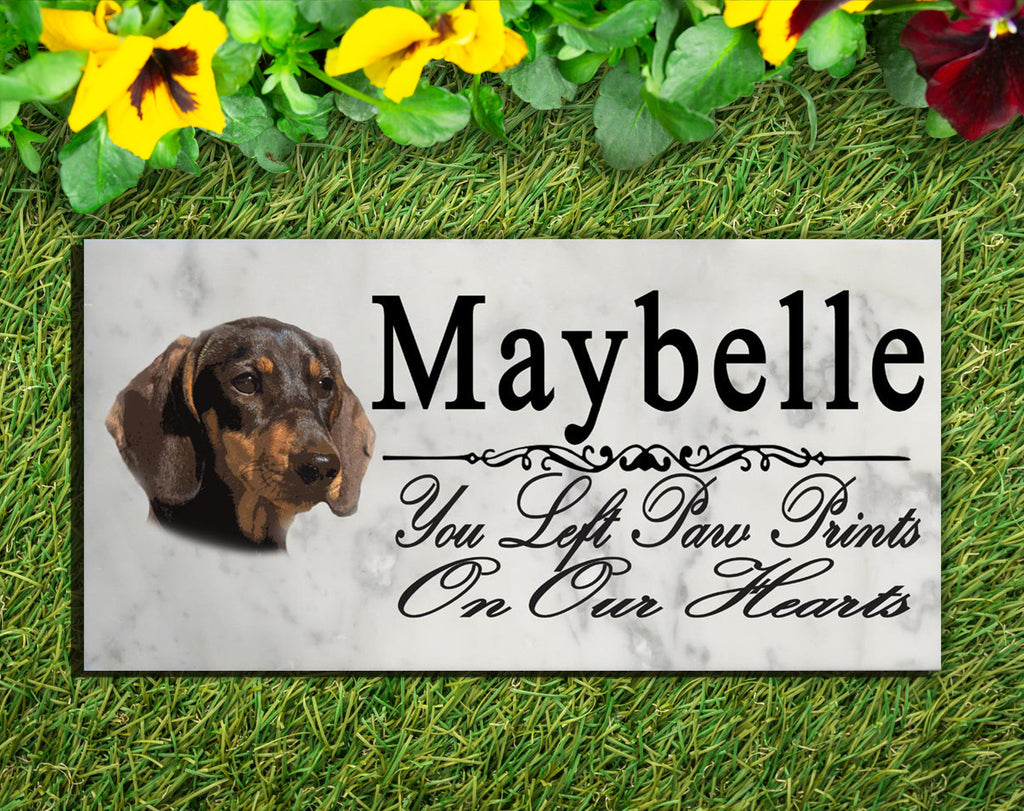 PERSONALIZED Dachshund Memorial Stone Dog Grave Marker Pet Garden Plaque