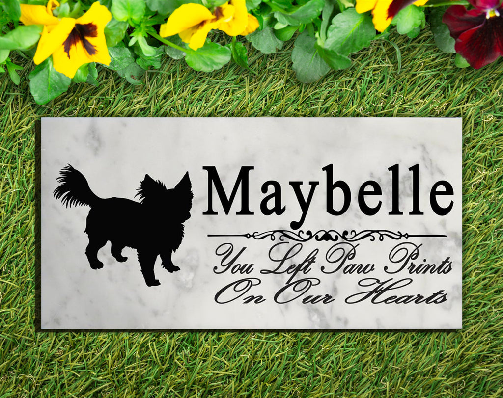 Long Haired Chihuahua Memorial Stone PERSONALIZED Dog Garden Rock Grave Marker Outdoor or Indoor