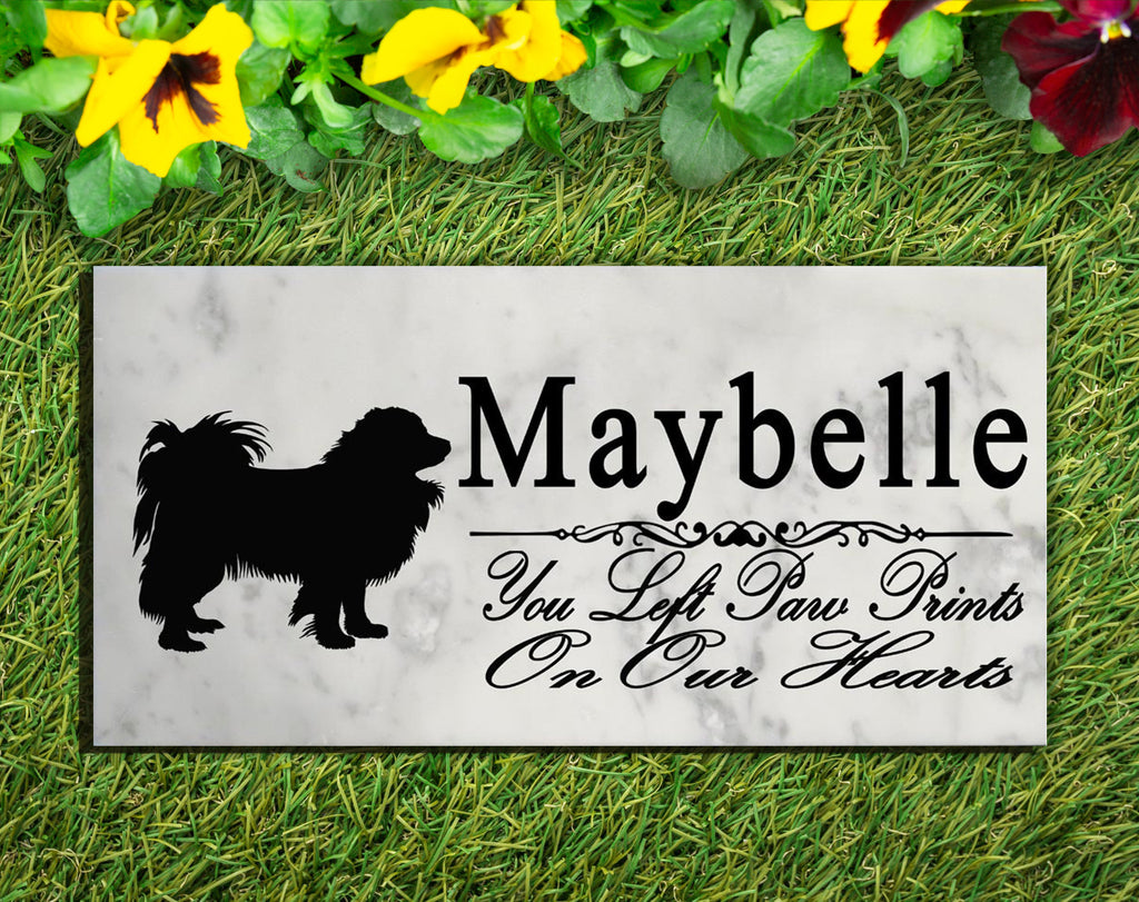 Papillon Memorial Stone PERSONALIZED Papillon Dog Garden Rock Grave Marker Outdoor or Indoor