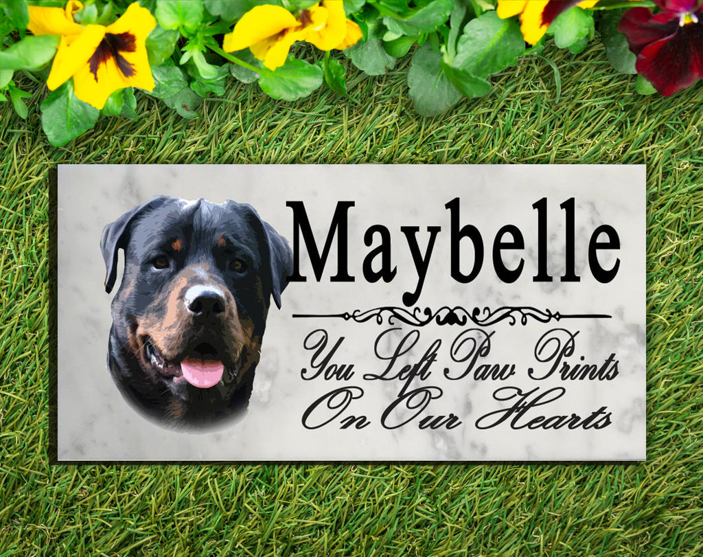 PERSONALIZED Rottweiler Memorial Stone Dog Grave Marker Pet Garden Plaque