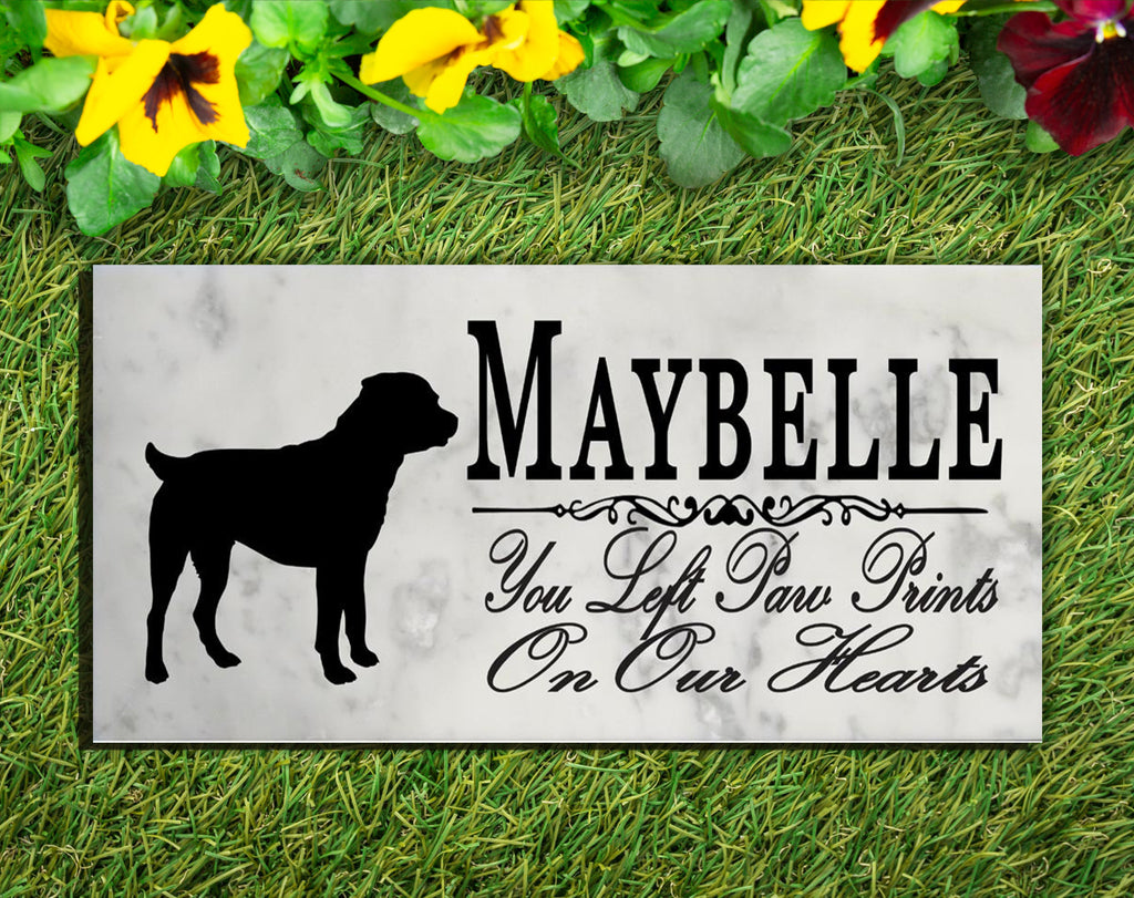 Rottweiler Memorial Stone PERSONALIZED Dog Garden Rock Grave Marker Outdoor or Indoor