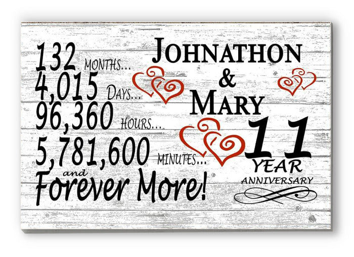 11 Year Anniversary Gift Sign Personalized 11th For Him Her or Couples Rustic Farmhouse Style