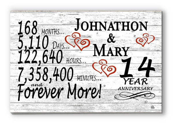 14 Year Anniversary Gift Sign Personalized 14th For Him Her or Couples Rustic Farmhouse Style