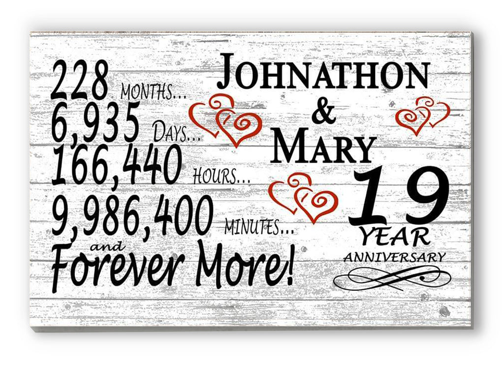19 Year Anniversary Gift Sign Personalized 19th For Him Her or Couples Rustic Farmhouse Style