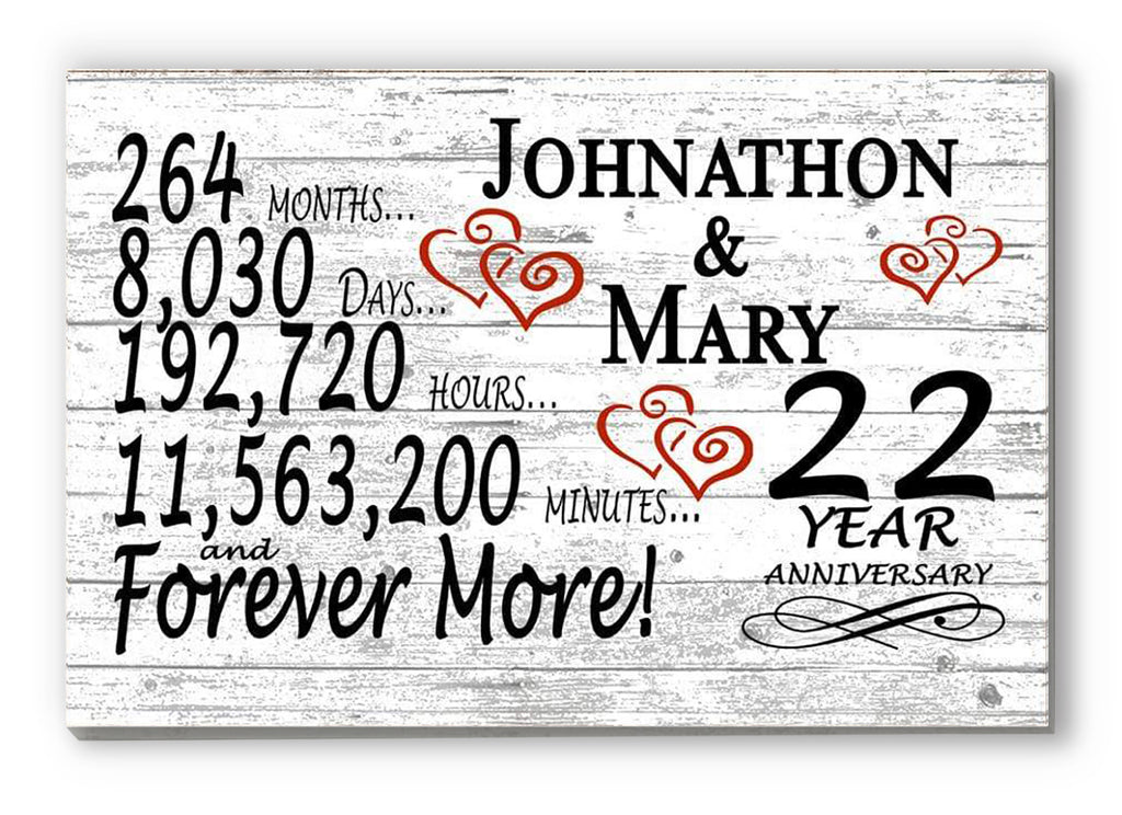 22 Year Anniversary Gift Sign Personalized 22nd For Him Her or Couples Rustic Farmhouse Style