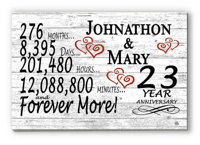 23 Year Anniversary Gift Sign Personalized 23rd For Him Her or Couples Rustic Farmhouse Style