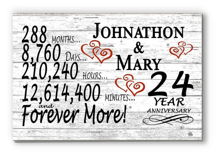 24 Year Anniversary Gift Sign Personalized 24th For Him Her or Couples Rustic Farmhouse Style