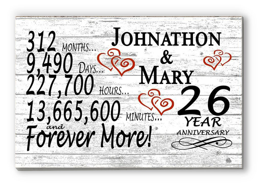 26 Year Anniversary Gift Sign Personalized 26th For Him Her or Couples Rustic Farmhouse Style
