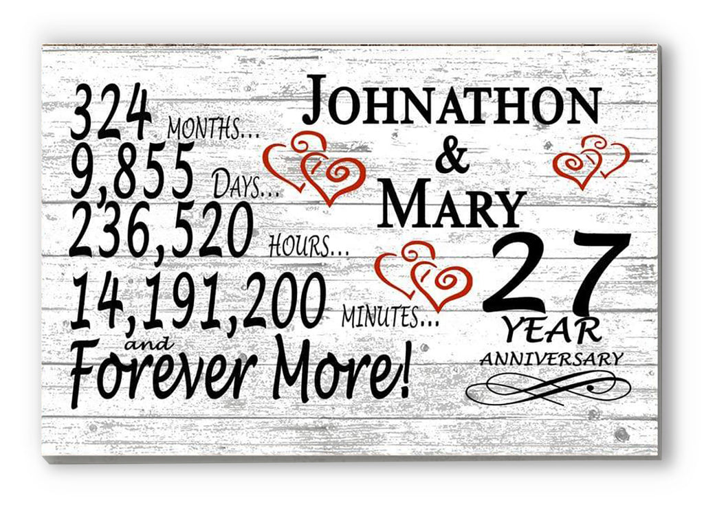 27 Year Anniversary Gift Sign Personalized 27th For Him Her or Couples Rustic Farmhouse Style