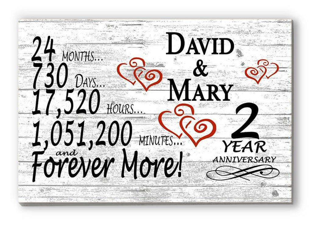 2 Year Anniversary Gift Sign Personalized 2nd For Him Her or Couples Rustic Farmhouse Style