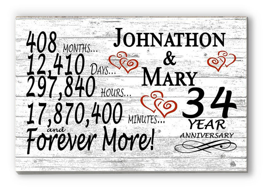 34 Year Anniversary Gift Sign Personalized 34th For Him Her or Couples Rustic Farmhouse Style