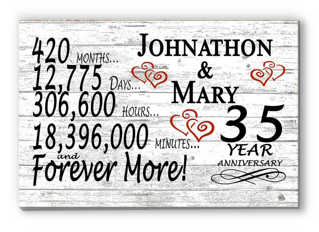 35 Year Anniversary Gift Sign Personalized 35th For Him Her or Couples Rustic Farmhouse Style