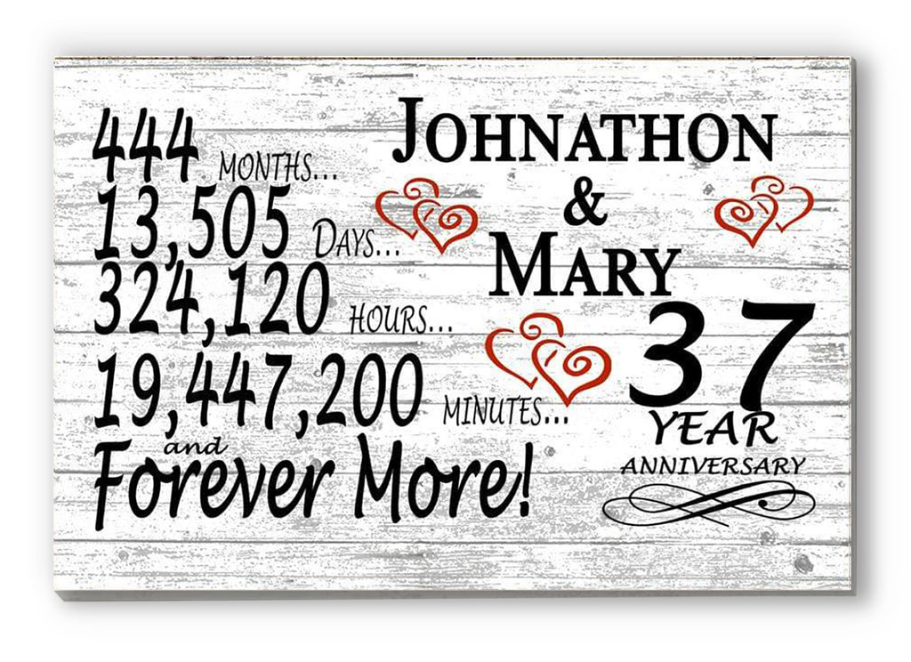 37 Year Anniversary Gift Sign Personalized 37th For Him Her or Couples Rustic Farmhouse Style