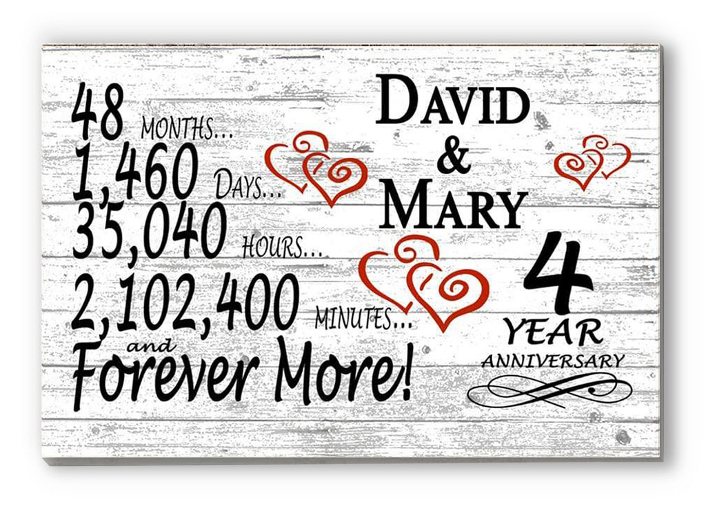 4 Year Anniversary Gift Sign Personalized 4th For Him Her or Couples Rustic Farmhouse Style