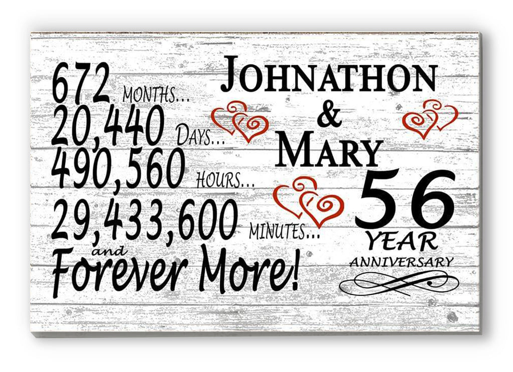 56 Year Anniversary Gift Sign Personalized 56th For Him Her or Couples Rustic Farmhouse Style