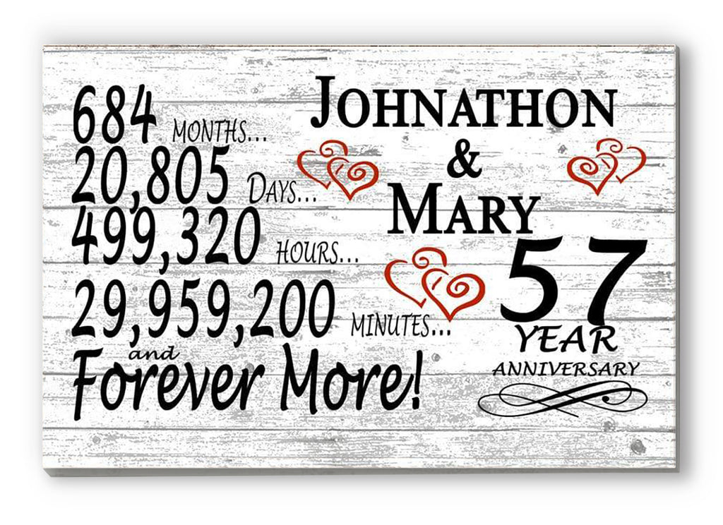 57 Year Anniversary Gift Sign Personalized 57th For Him Her or Couples Rustic Farmhouse Style