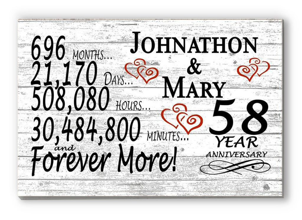 58 Year Anniversary Gift Sign Personalized 58th For Him Her or Couples Rustic Farmhouse Style