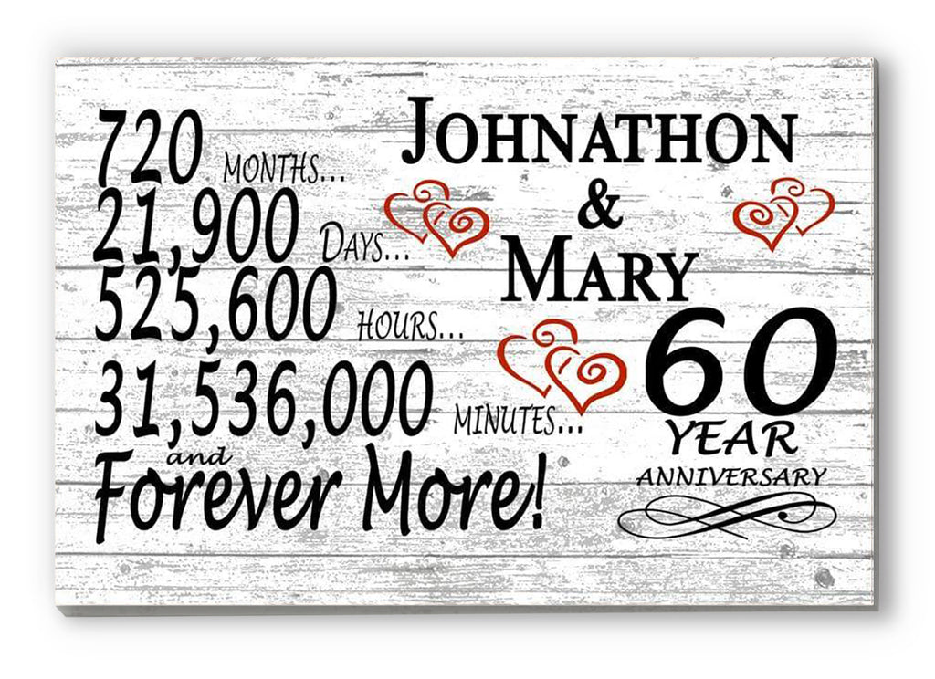 60 Year Anniversary Gift Sign Personalized 60th For Him Her or Couples Rustic Farmhouse Style