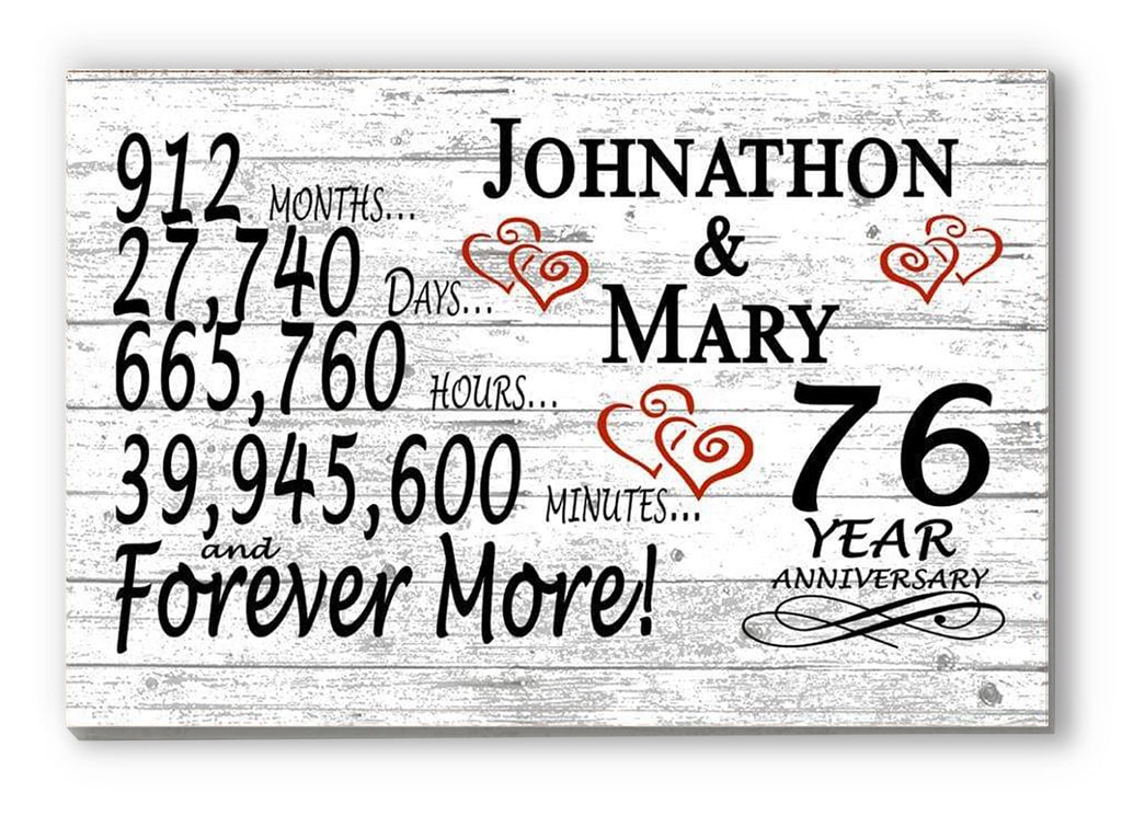 76 Year Anniversary Gift Sign Personalized 76th For Him Her or Couples Rustic Farmhouse Style
