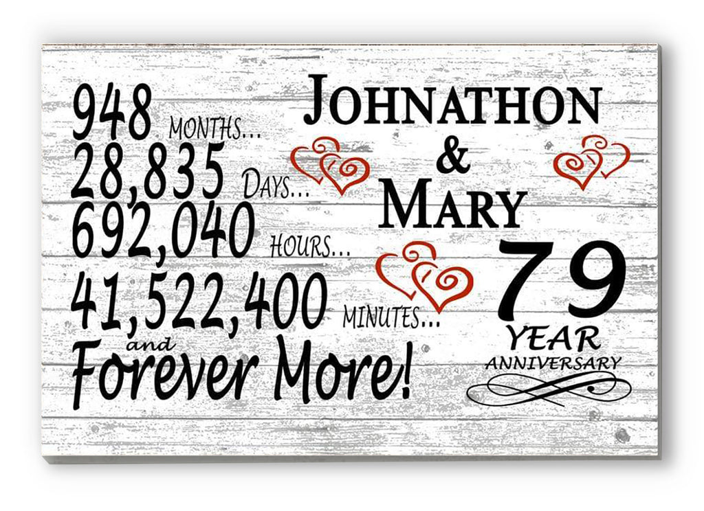 79 Year Anniversary Gift Sign Personalized 79th For Him Her or Couples Rustic Farmhouse Style