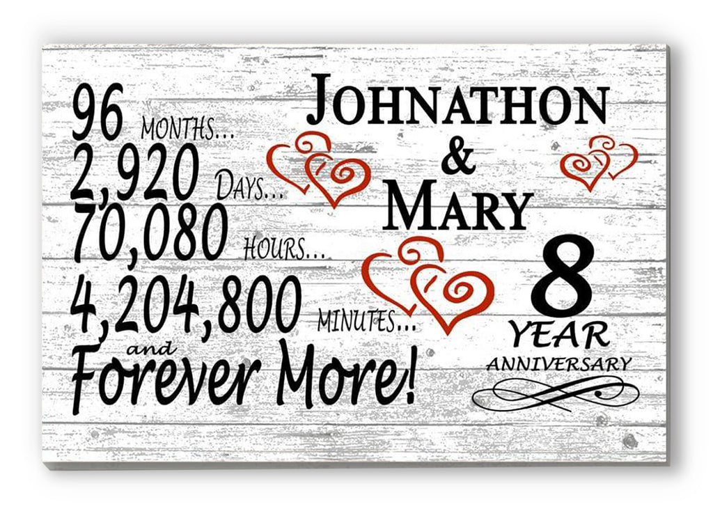 8 Year Anniversary Gift Sign Personalized 8th For Him Her or Couples Rustic Farmhouse Style