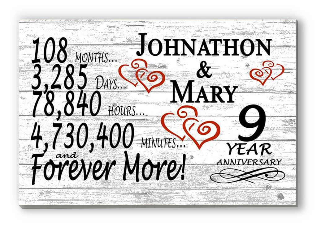 9 Year Anniversary Gift Sign Personalized 9th For Him Her or Couples Rustic Farmhouse Style