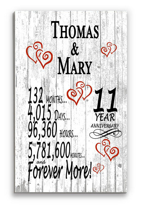 11th Anniversary Gift Personalized Names SHIPPED SAME DAY Plank Farmhouse Style 11 Year