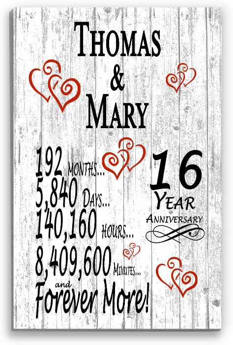 16 Year Anniversary Personalized Gifts Personalized 16th For Her Him Couple