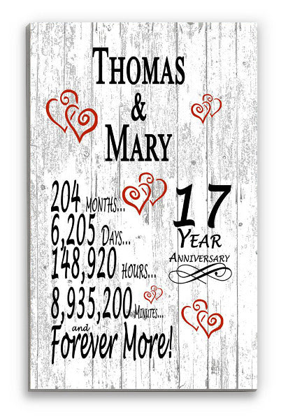 17 Year Anniversary Gift Personalized Names SHIPPED SAME DAY Plank Farmhouse Style 17th