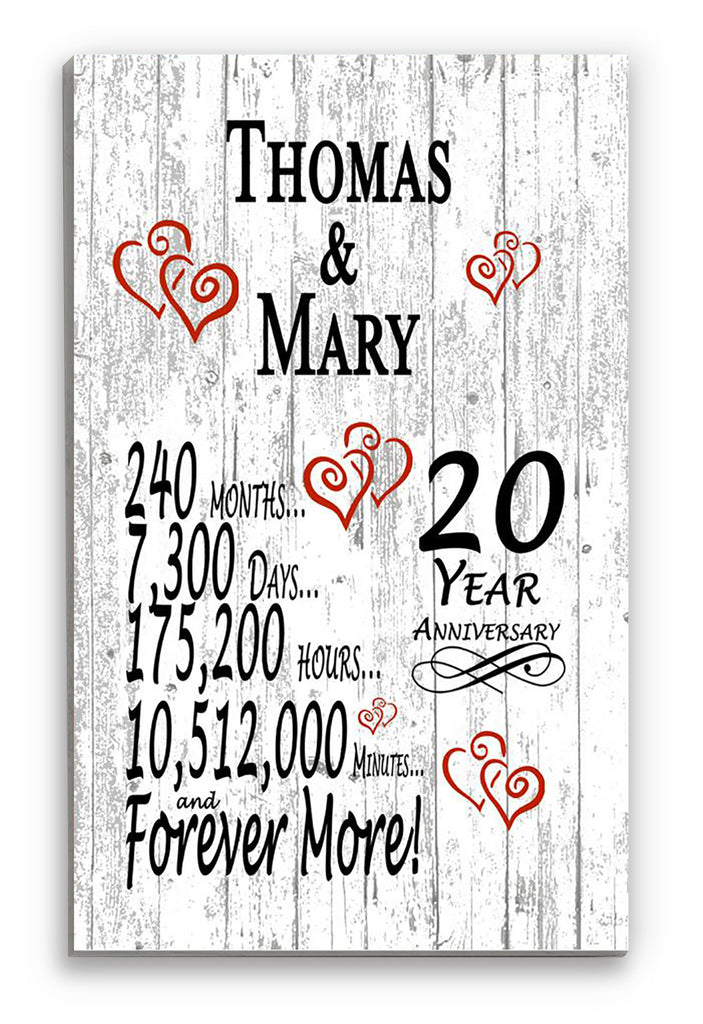 20 Year Anniversary Gift Personalized Names SHIPPED SAME DAY Plank Farmhouse Style 20th