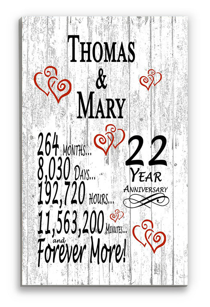 22nd Year Anniversary Gift Personalized Names SHIPPED SAME DAY Plank Farmhouse Style for Him or Her