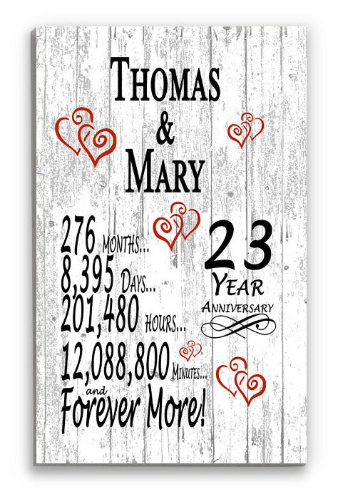 23 Year Anniversary Gift Personalized Names SHIPPED SAME DAY Plank Farmhouse Style 24th