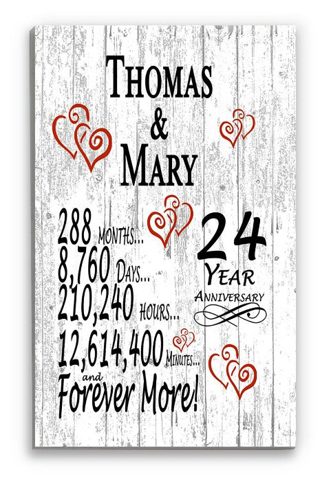 24 Year Anniversary Gift Personalized Names SHIPPED SAME DAY Plank Farmhouse Style 24th