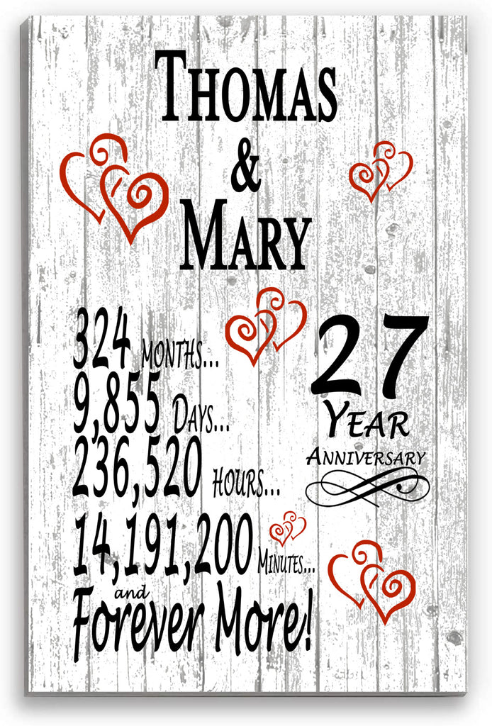 27 Year Anniversary Personalized Gift Sign