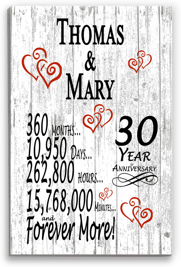30 Year Anniversary Personalized Gifts Personalized 30th For Her Him Couple