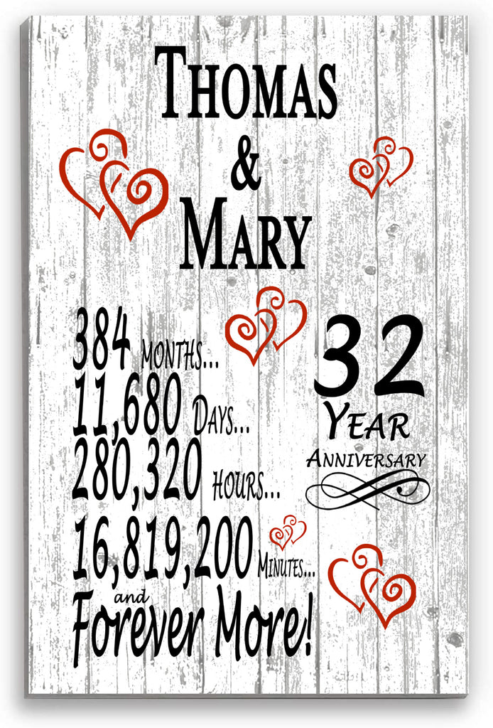 32 Year Anniversary Personalized Gift Sign Personalized 32nd Wedding Anniversary