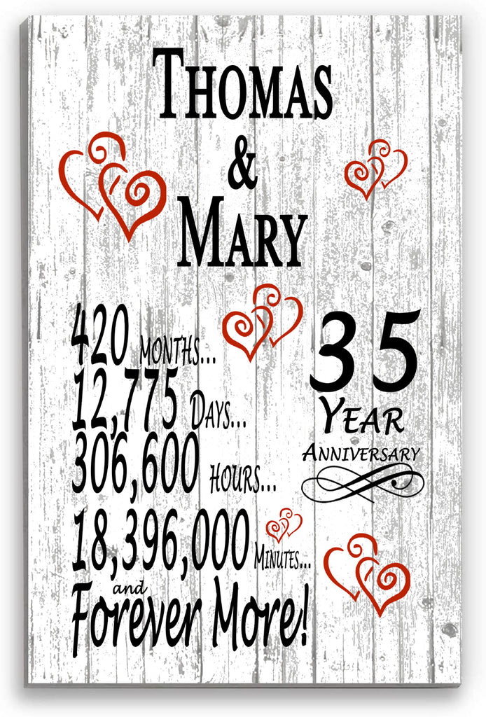 35 Year Anniversary Personalized Gift Sign