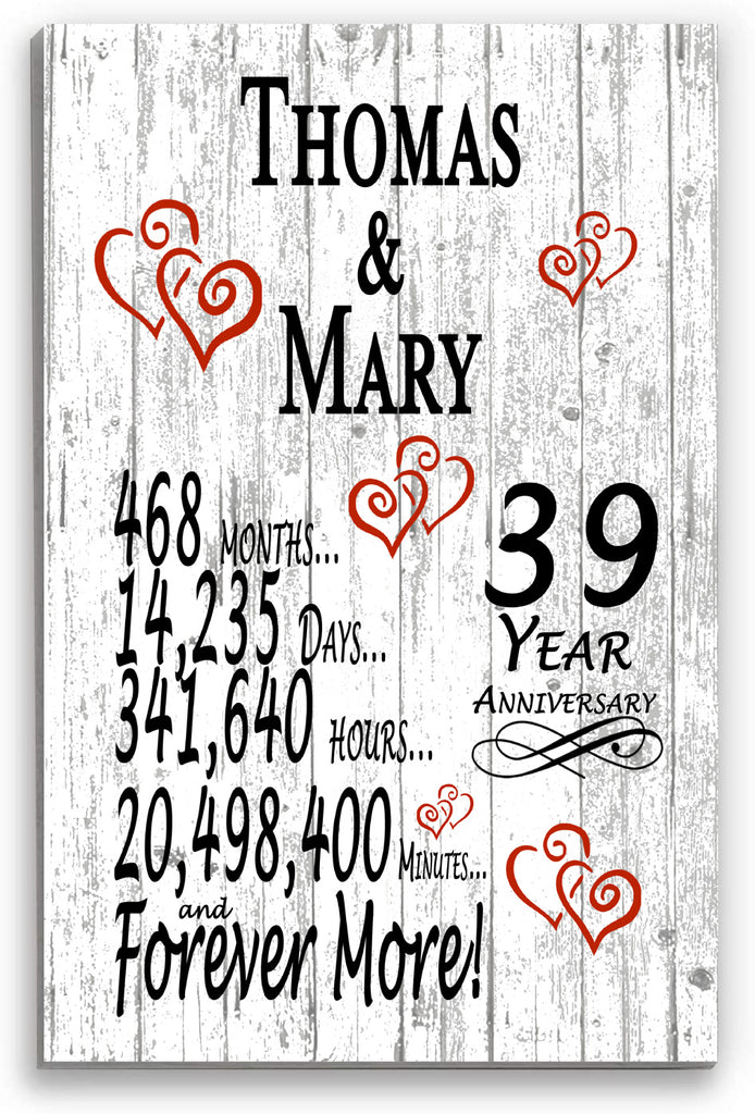 39 Year Anniversary Personalized Gift Sign