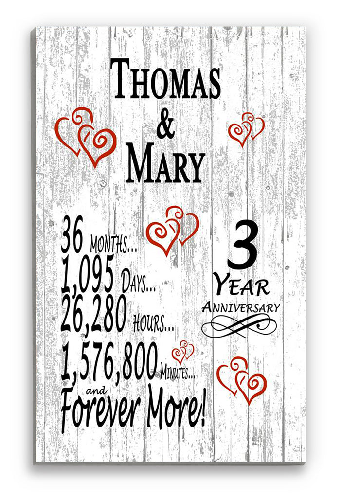 3 Year Anniversary Gift Personalized Names SHIPPED SAME DAY Plank Farmhouse Style 3rd